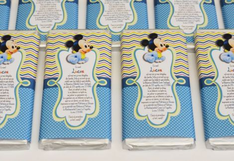 Invitatie botez ciocolata tema Baby Mickey Mouse