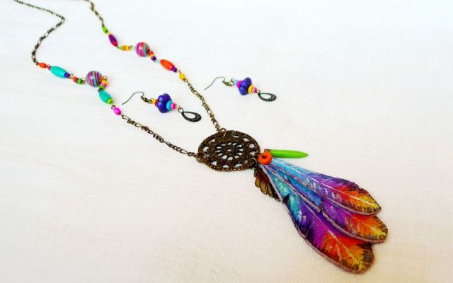 Set boho hippie I dream of flying. Tropical sunset