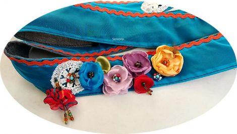 brau centura curea cordon cu flori multicolor
