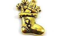 Pandantiv charm auriu antichizat soseta Craciun