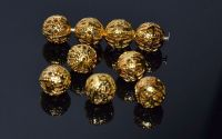 Distantier rotund metalic auriu filigran 10 mm