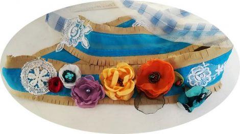 brau centura curea cordon piele dantelat floral