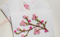 Felicitare quilling flori primavara