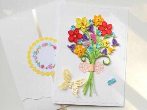 Felicitare quilling flori