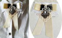 brosa dantelata cu camee antichizata crem negru