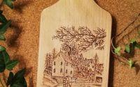 Tocator lemn pirogravat manual