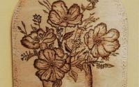 Tablou pirogravat - flori