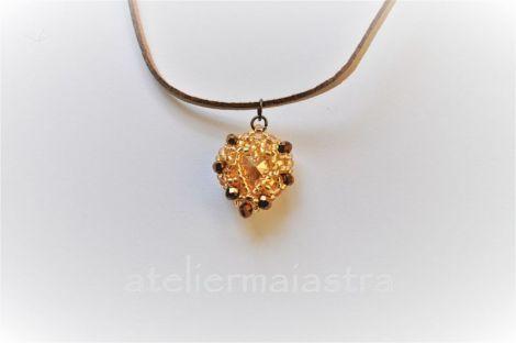 colier inima lantisor auriu pandantiv cristal