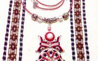 Pandantiv traditii populare cu snur alb-rosu