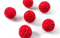 Margele cinnabar cinabru sferic model flori 10mm