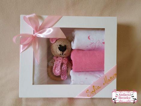 Set cadou ursulet roz