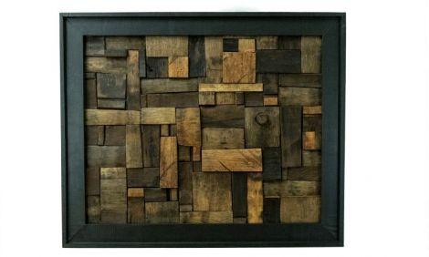 Tablou unicat de lemn din butoi vechi de vin