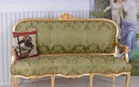 Sofa baroc din lemn masiv auriu cu tapiterie