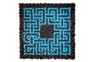 Tablou mozaic din cuburi de lemn