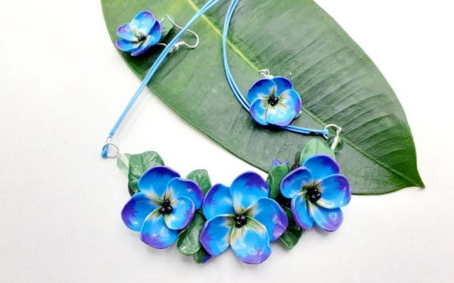 Flori albastre set bijuterii din lut polimeric