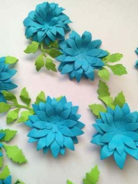 Flori bleu 3D-5cm