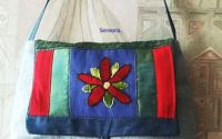 geanta colaj denim cu floare brodata