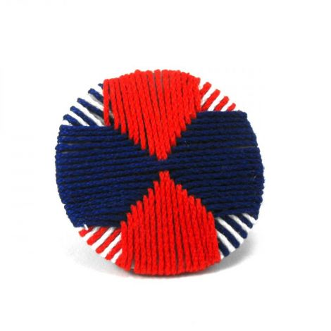 Navy- Simple and modern round textile brooch