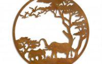 Decoratiune cu savana din metal pentru perete