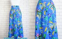 Fusta Midi Albastra Flori Tropicale  marime S
