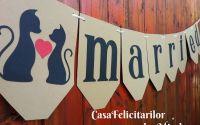 Ghirlanda banner Just married cu pisici