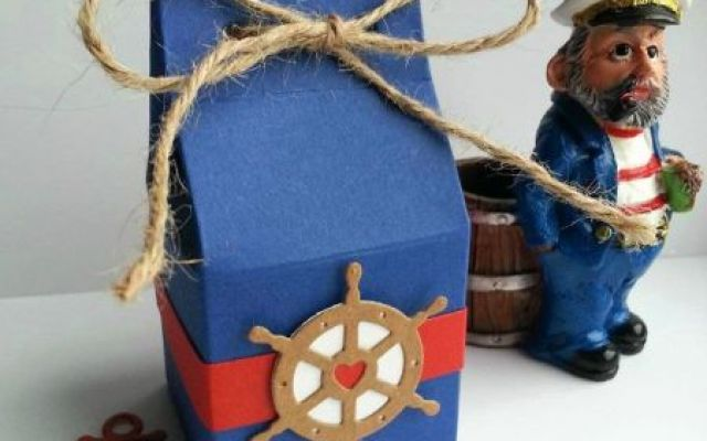 Cutie pentru marturii botez cu tematica marina