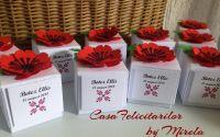 Cutii cu flori de mac- marturii nunta ori botez
