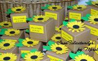 Cutii marturii nunta sau botez cu floarea soarelui