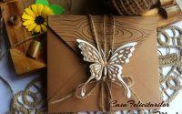 Plic craft decorat cu fluture dantelat