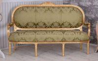 Sofa Madamme Pompandour din lemn masiv auriu