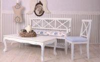 Masa din lemn masiv alb cu picatele albastre