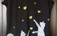 Tricou pictat manual - Pisici jucue