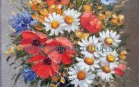Vas albastru cu flori de camp