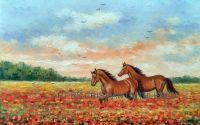 Peisaj camp cu maci si cai
