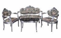Set baroc din lemn masiv argintiu