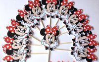Toppers Minnie mouse cu fundita rosie
