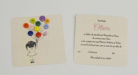 invitaie botez feti cu buchet baloane nasturi