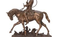 Louis XV -statueta ecvestra din bronz pe un soclu