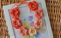Guleras Colier Coronita din flori crosetate