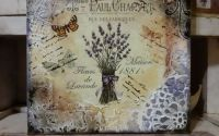 Lavanda tablou unicat mixed media decoupage