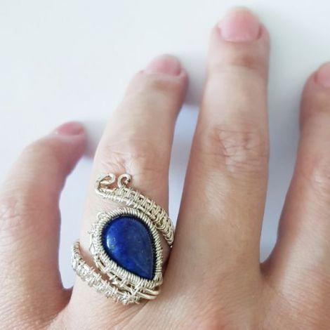 Inel sarma argintata si lapis lazuli