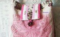 geanta de in natur dantelata roz