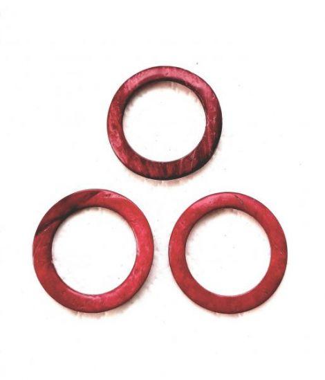 Conector  inel lemn de cocos 35mm roz