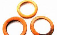 Conector  inel lemn cocos 35mm portocaliu-maro