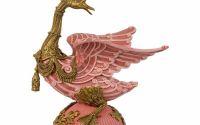 Statueta gasca din portelan roz cu bronz