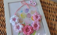 Guleras Colier Coronita din flori crosetate ROZ