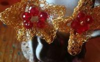 Cercei crosetati floare 5 petale