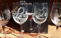 Pahare de vin gravate manual