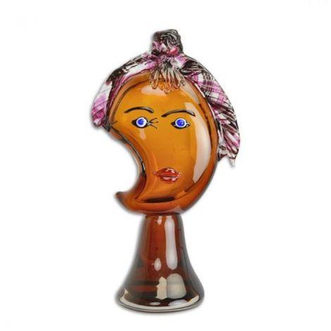 Cap de femeie abstract din sticla Murano