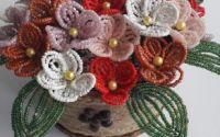 Decoratiune handmade 25 flori mrgele i cafea